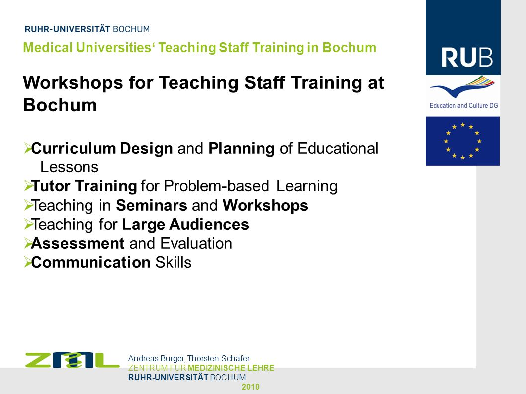 Medical Universities Teaching Staff Training in Bochum Extended: How to Present (e.g.