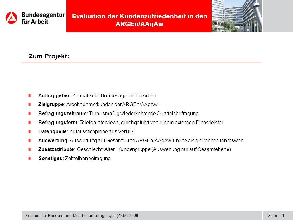 Zentrum für Kunden- und Mitarbeiterbefragungen (ZKM) 2008 Titel-Blindtext Evaluation der Kundenzufriedenheit in den ARGEn/AAgAw Auswertung: ARGE Bochum, Stadt Zeitraum: Q1 (März-Mai 2008) Zielgruppe: Arbeitnehmer