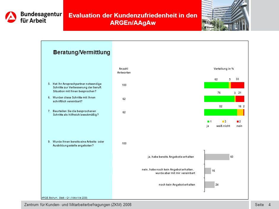 Seite Evaluation der Kundenzufriedenheit in den ARGEn/AAgAw Zentrum für Kunden- und Mitarbeiterbefragungen (ZKM) 2008 3