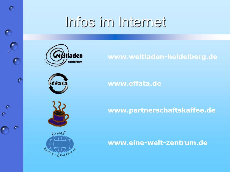 Infos im Internet www.weltladen-heidelberg.de www.effata.de www.partnerschaftskaffee.de www.eine-welt-zentrum.de