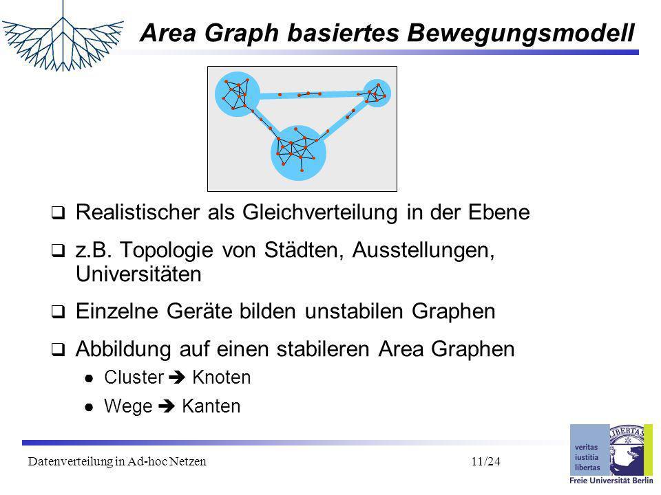 Datenverteilung in Ad-hoc Netzen 12/24 Area Graph - Formalisierung mehrere rechteckige Flächen (Cluster) durch Wege miteinander verbunden zufällige Verweildauer im Cluster Innerhalb eines Clusters Bewegung nach Random Waypoint Bewegungsmodell Nach Ablauf der Verweildauer zufällige Wahl eines anderen Cluster, direkte Bewegung auf dem Weg