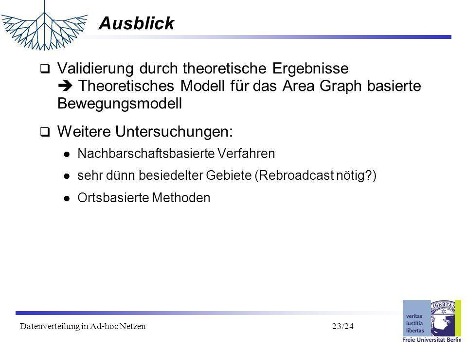 Datenverteilung in Ad-hoc Netzen 24/24 Vielen Dank für Ihre Aufmerksamkeit Fragen?