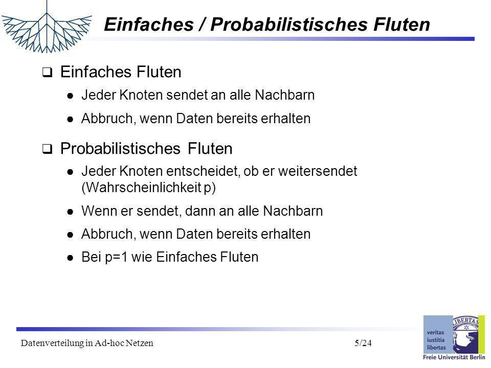 Datenverteilung in Ad-hoc Netzen 6/24 Adaptives Probabilistisches Fluten wie Probabilistisches Fluten, aber...