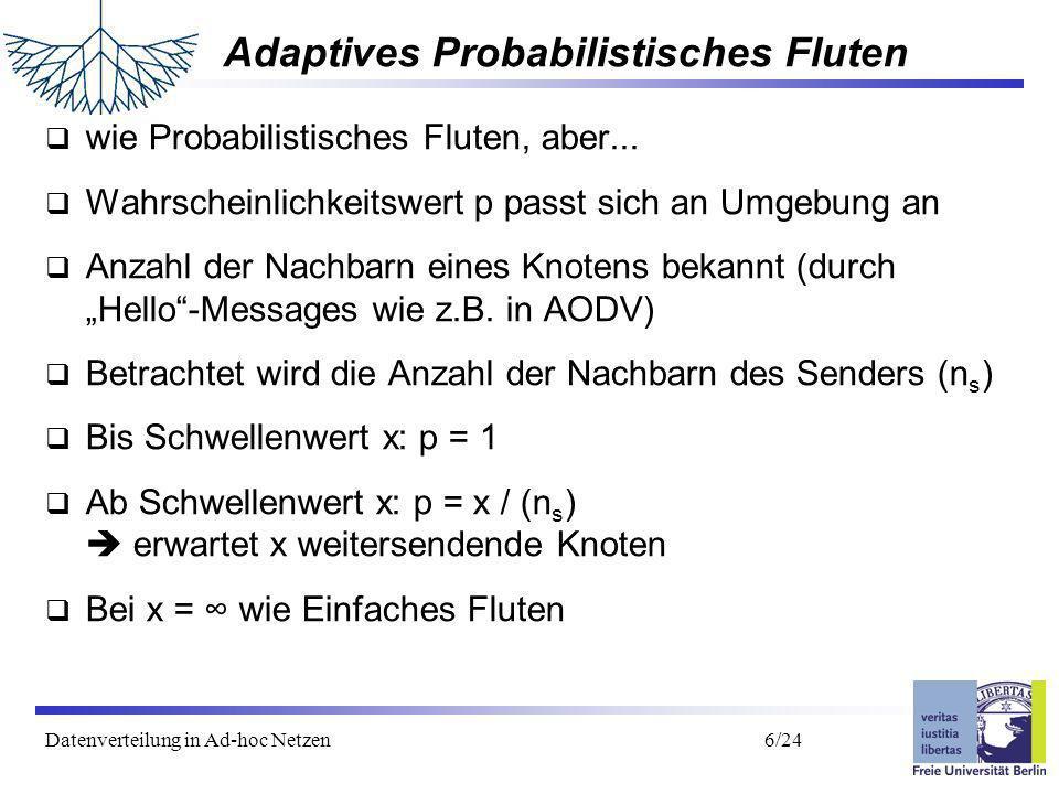 Datenverteilung in Ad-hoc Netzen 7/24 Adaptives Prob.