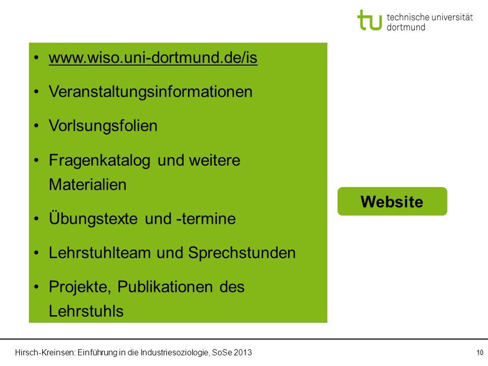 Hirsch-Kreinsen: Einführung in die Industriesoziologie, SoSe 2013 10 Einführung in die Industriesoziologie Übung WebsiteSprechstunden Klausur www.wiso