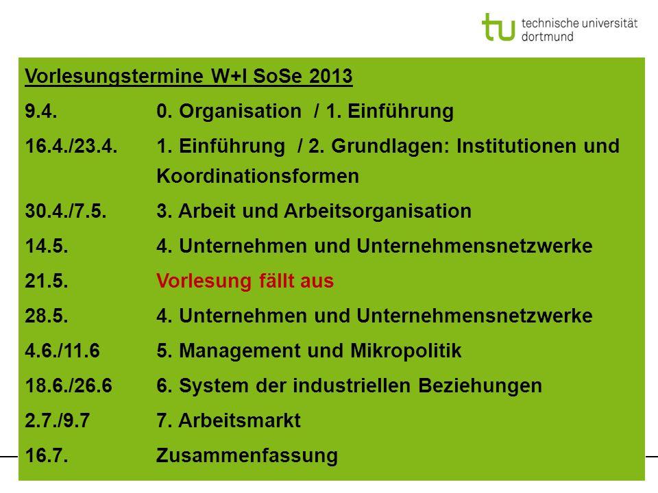 Hirsch-Kreinsen: Einführung in die Industriesoziologie, SoSe 2013 Vorlesungstermine W+I SoSe 2013 9.4.0. Organisation / 1. Einführung 16.4./23.4.1. Ei