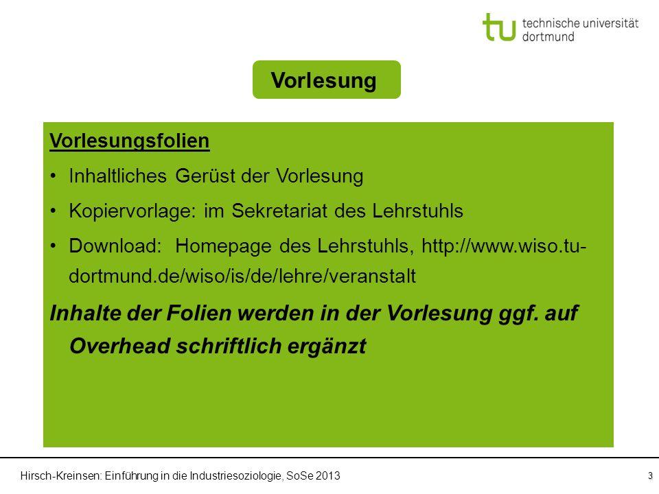 Hirsch-Kreinsen: Einführung in die Industriesoziologie, SoSe 2013 3 Einführung in die Industriesoziologie Fragenkatalog Vorlesung SprechstundenWebsite