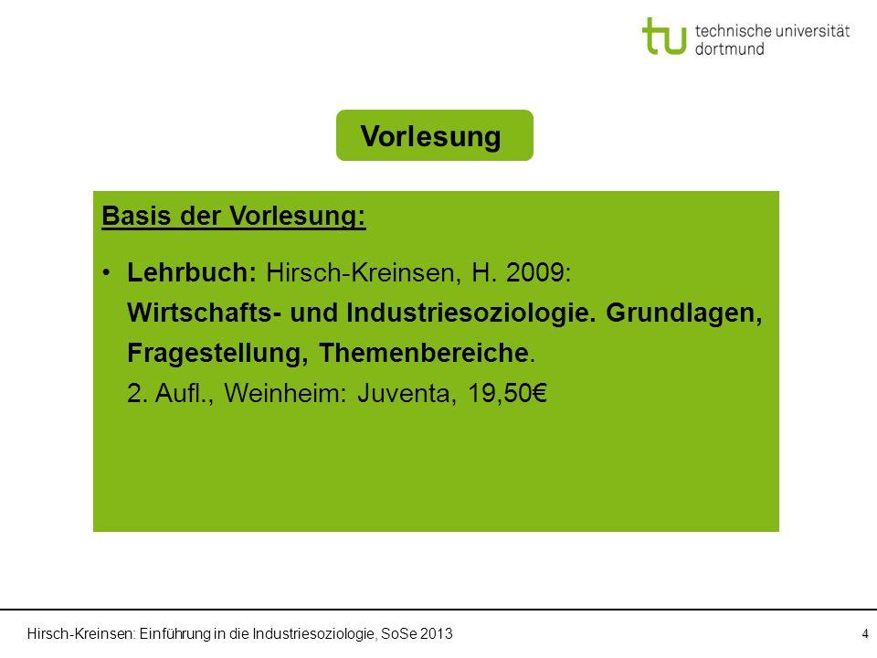 Hirsch-Kreinsen: Einführung in die Industriesoziologie, SoSe 2013 4 Einführung in die Industriesoziologie Vorlesung Sprechstunden Basis der Vorlesung: