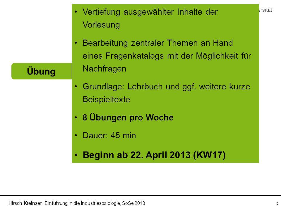 Hirsch-Kreinsen: Einführung in die Industriesoziologie, SoSe 2013 5 Übung Einführung in die Industriesoziologie Fragenkatalog Vorlesung Sprechstunden