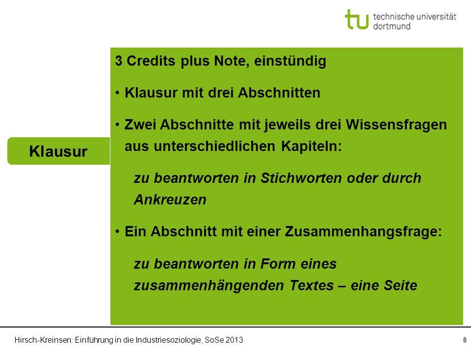 Hirsch-Kreinsen: Einführung in die Industriesoziologie, SoSe 2013 8 Klausur Einführung in die Industriesoziologie Vorlesung 3 Credits plus Note, einst