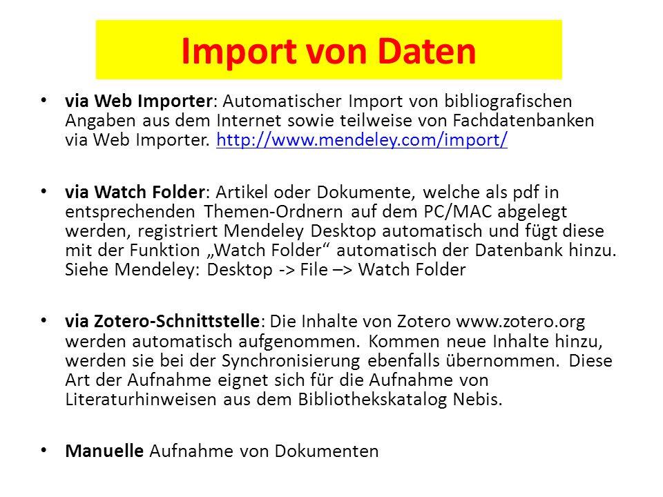 Import von Daten via Web Importer: Automatischer Import von bibliografischen Angaben aus dem Internet sowie teilweise von Fachdatenbanken via Web Importer.
