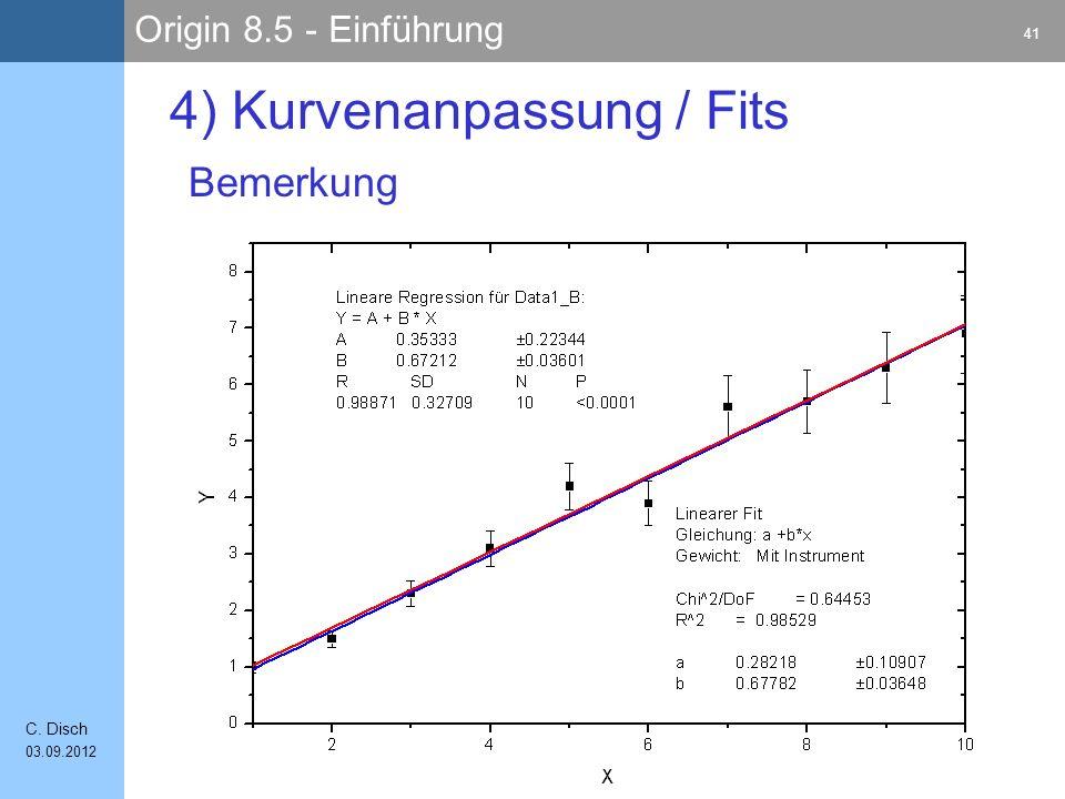 Origin 8.5 - Einführung 41 C. Disch 03.09.2012 4) Kurvenanpassung / Fits Bemerkung
