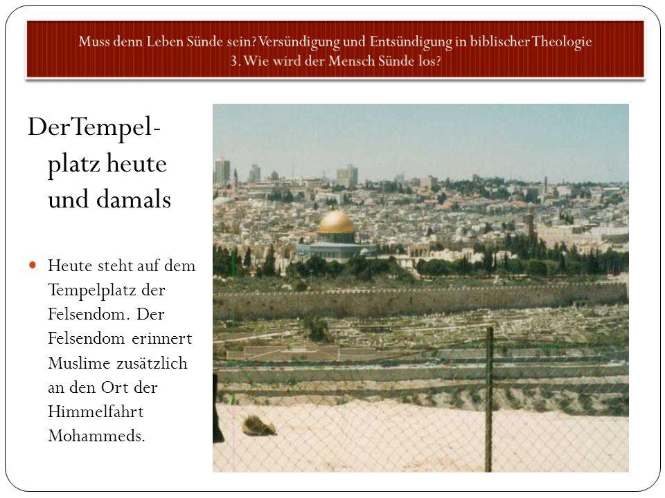 DerTempel- platz heute und damals Heute steht auf dem Tempelplatz der Felsendom. Der Felsendom erinnert Muslime zusätzlich an den Ort der Himmelfahrt