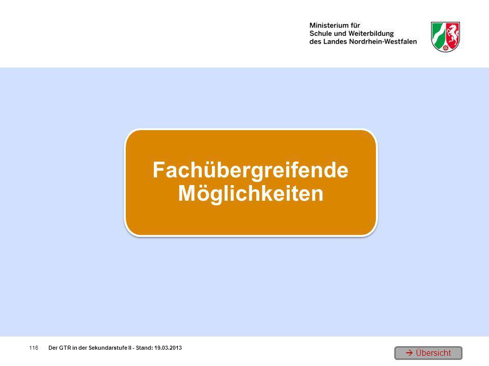 Übersicht Der GTR in der Sekundarstufe II - Stand: 19.03.2013116 Fachübergreifende Möglichkeiten