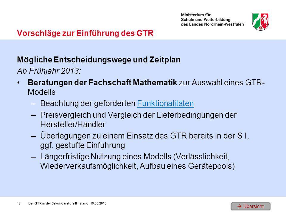 Übersicht Mögliche Entscheidungswege und Zeitplan Ab Frühjahr 2013: Beratungen der Fachschaft Mathematik zur Auswahl eines GTR- Modells –Beachtung der