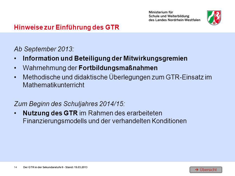 Übersicht Ab September 2013: Information und Beteiligung der Mitwirkungsgremien Wahrnehmung der Fortbildungsmaßnahmen Methodische und didaktische Über