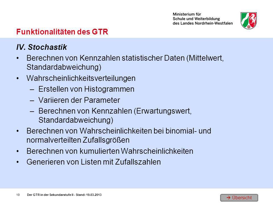 Übersicht IV. Stochastik Berechnen von Kennzahlen statistischer Daten (Mittelwert, Standardabweichung) Wahrscheinlichkeitsverteilungen –Erstellen von