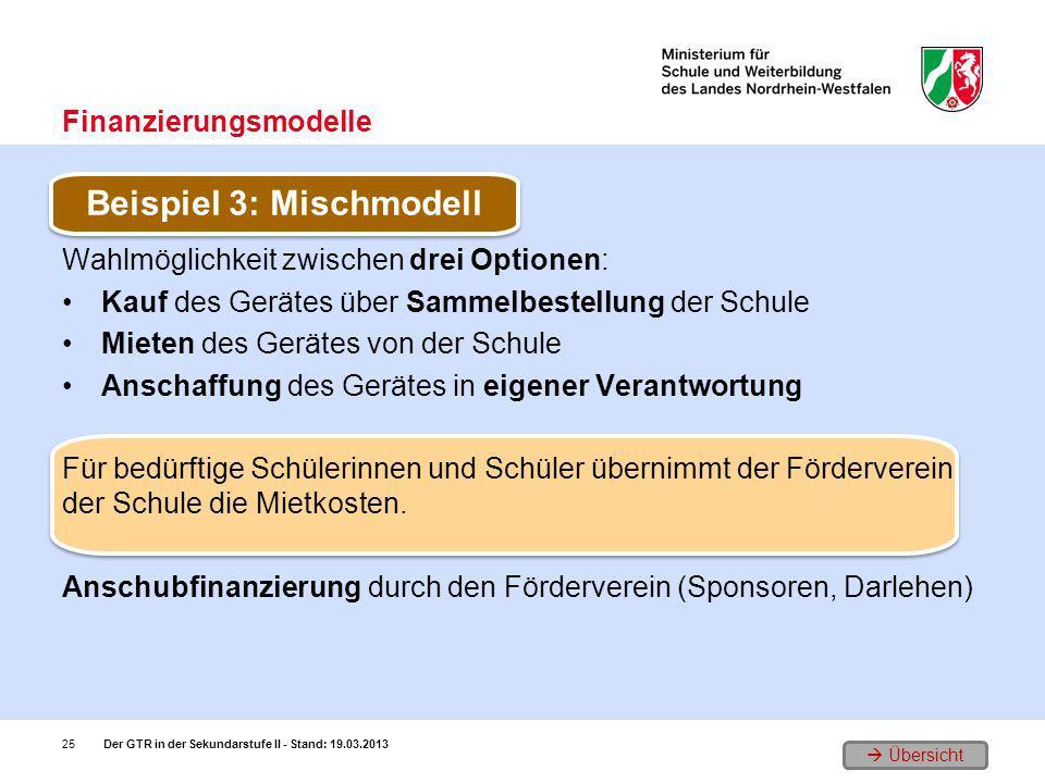 Übersicht Wahlmöglichkeit zwischen drei Optionen: Kauf des Gerätes über Sammelbestellung der Schule Mieten des Gerätes von der Schule Anschaffung des