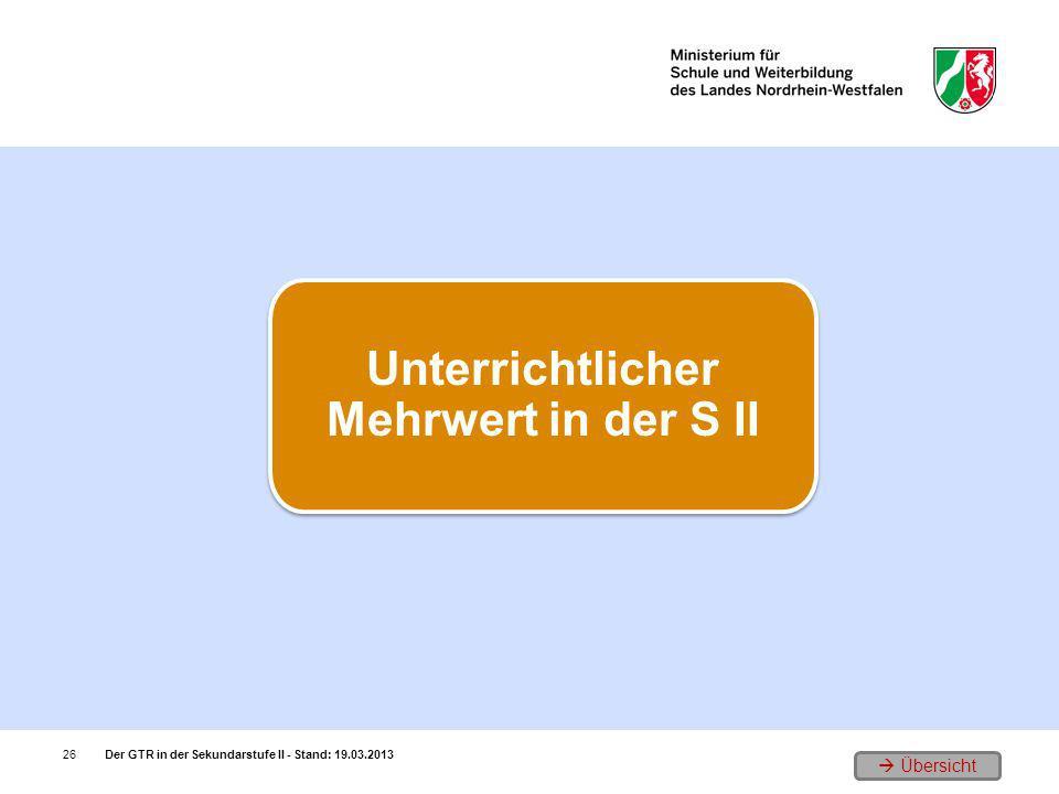 Übersicht Der GTR in der Sekundarstufe II - Stand: 19.03.201326 Unterrichtlicher Mehrwert in der S II