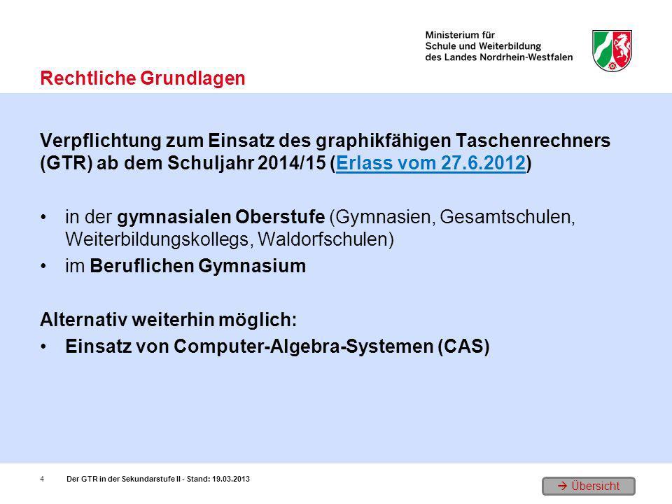 Übersicht Verpflichtung zum Einsatz des graphikfähigen Taschenrechners (GTR) ab dem Schuljahr 2014/15 (Erlass vom 27.6.2012)Erlass vom 27.6.2012 in de