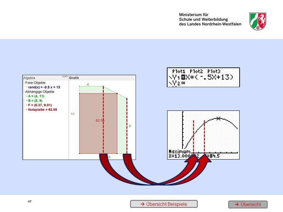 47 1. Das Problem 2. Die Zielfunktion 3. der Graph und sein Hochpunkt Übersicht Beispiele Übersicht