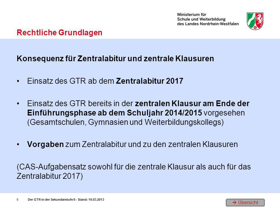Übersicht Konsequenz für Zentralabitur und zentrale Klausuren Einsatz des GTR ab dem Zentralabitur 2017 Einsatz des GTR bereits in der zentralen Klaus