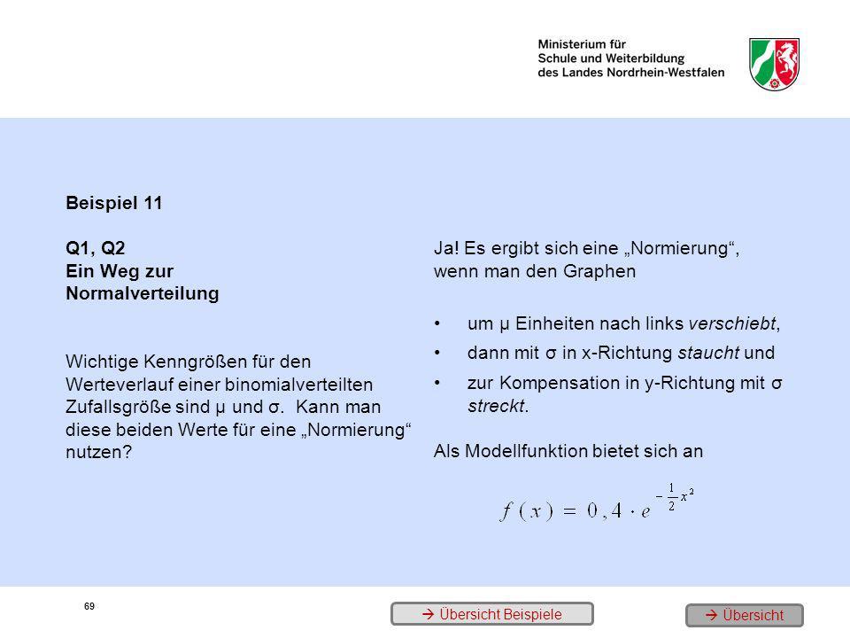 Beispiel 11 Q1, Q2 Ein Weg zur Normalverteilung Wichtige Kenngrößen für den Werteverlauf einer binomialverteilten Zufallsgröße sind µ und σ. Kann man