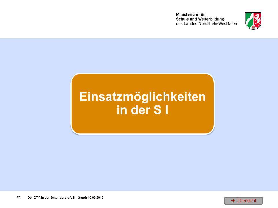 Übersicht Der GTR in der Sekundarstufe II - Stand: 19.03.201377 Einsatzmöglichkeiten in der S I