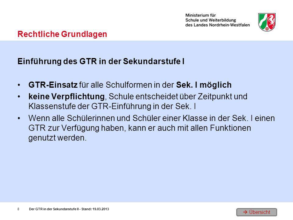 Übersicht Einführung des GTR in der Sekundarstufe I GTR-Einsatz für alle Schulformen in der Sek. I möglich keine Verpflichtung, Schule entscheidet übe