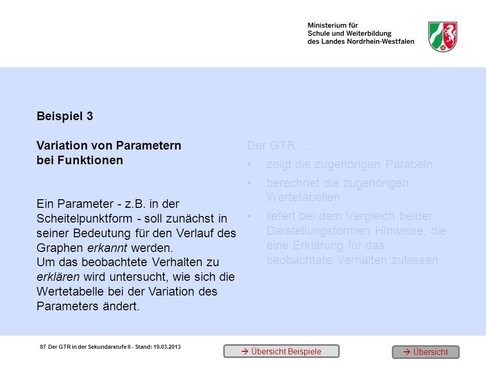 Beispiel 3 Variation von Parametern bei Funktionen Ein Parameter - z.B. in der Scheitelpunktform - soll zunächst in seiner Bedeutung für den Verlauf d