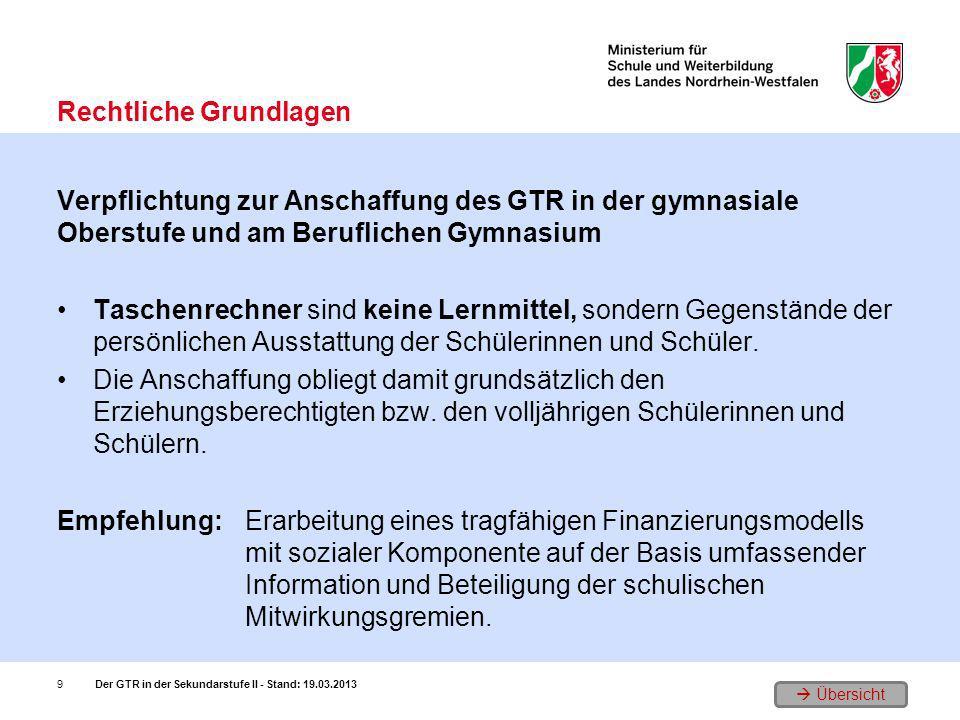 Übersicht Verpflichtung zur Anschaffung des GTR in der gymnasiale Oberstufe und am Beruflichen Gymnasium Taschenrechner sind keine Lernmittel, sondern