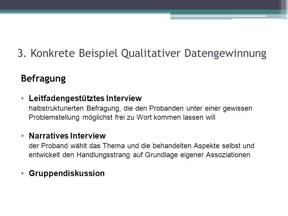 3. Konkrete Beispiel Qualitativer Datengewinnung Befragung Leitfadengestütztes Interview halbstrukturierten Befragung, die den Probanden unter einer g