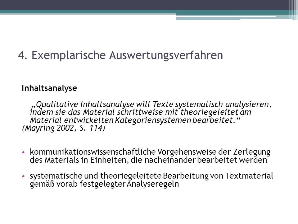4. Exemplarische Auswertungsverfahren Inhaltsanalyse Qualitative Inhaltsanalyse will Texte systematisch analysieren, indem sie das Material schrittwei