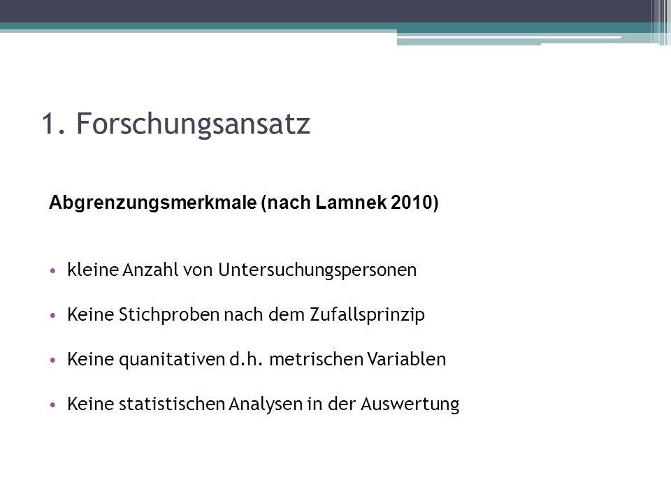 1. Forschungsansatz Abgrenzungsmerkmale (nach Lamnek 2010) kleine Anzahl von Untersuchungspersonen Keine Stichproben nach dem Zufallsprinzip Keine qua