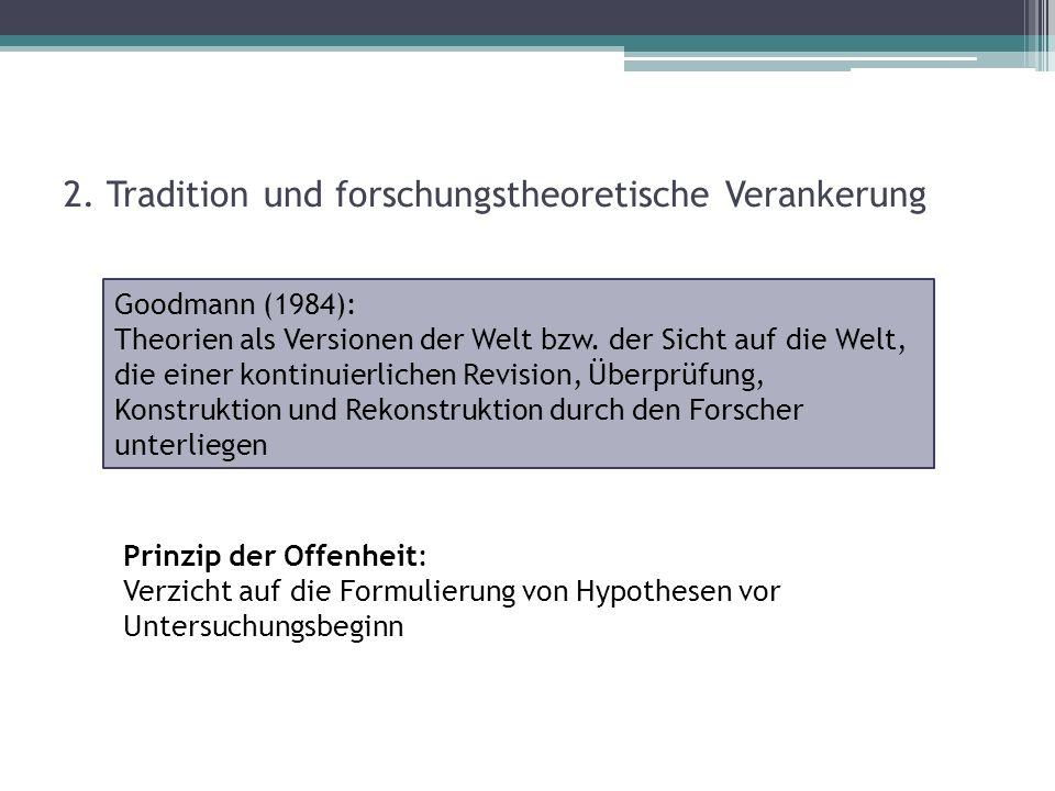 2. Tradition und forschungstheoretische Verankerung Prinzip der Offenheit: Verzicht auf die Formulierung von Hypothesen vor Untersuchungsbeginn Goodma