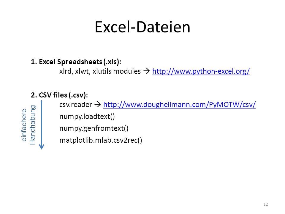 Excel-Dateien 12 1. Excel Spreadsheets (.xls): xlrd, xlwt, xlutils modules http://www.python-excel.org/http://www.python-excel.org/ 2. CSV files (.csv