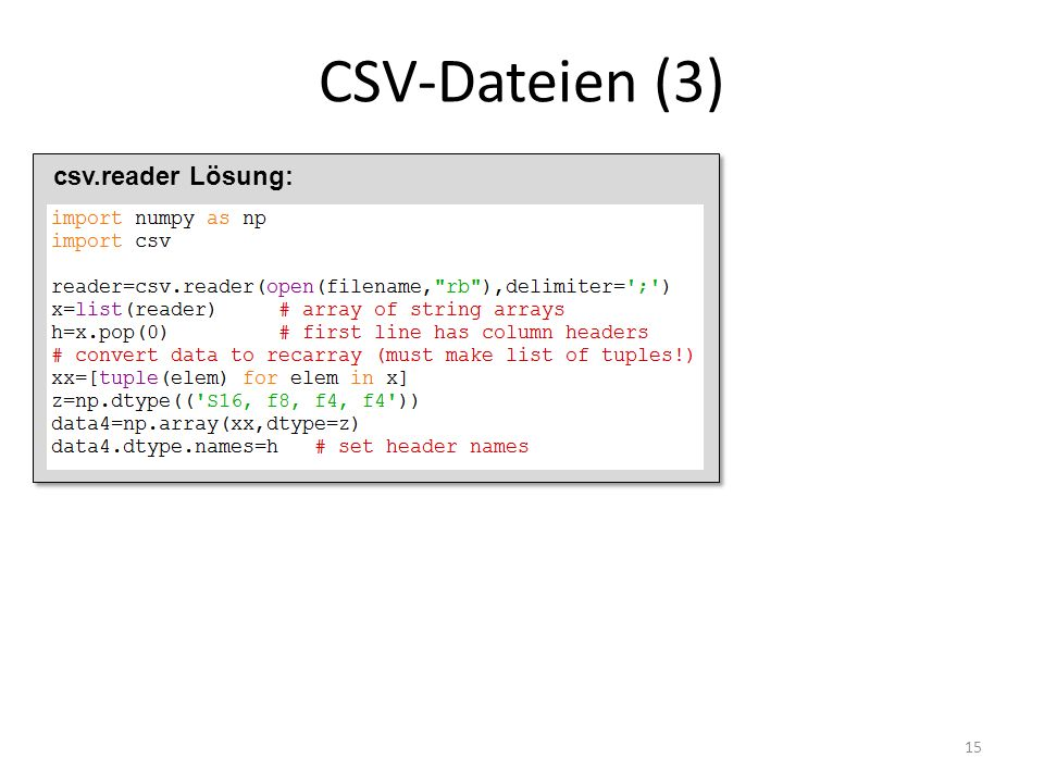 CSV-Dateien (3) 15 csv.reader Lösung: