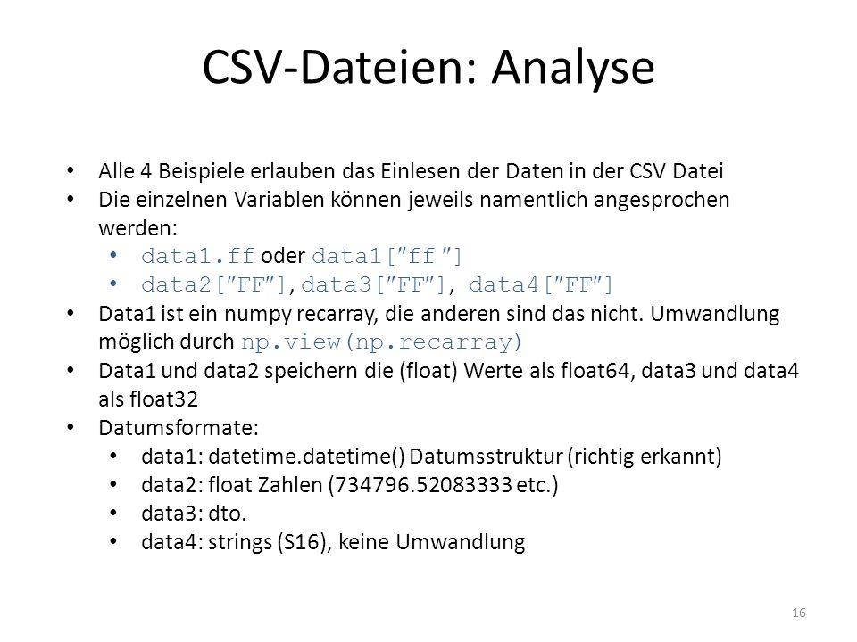 CSV-Dateien: Analyse 16 Alle 4 Beispiele erlauben das Einlesen der Daten in der CSV Datei Die einzelnen Variablen können jeweils namentlich angesproch