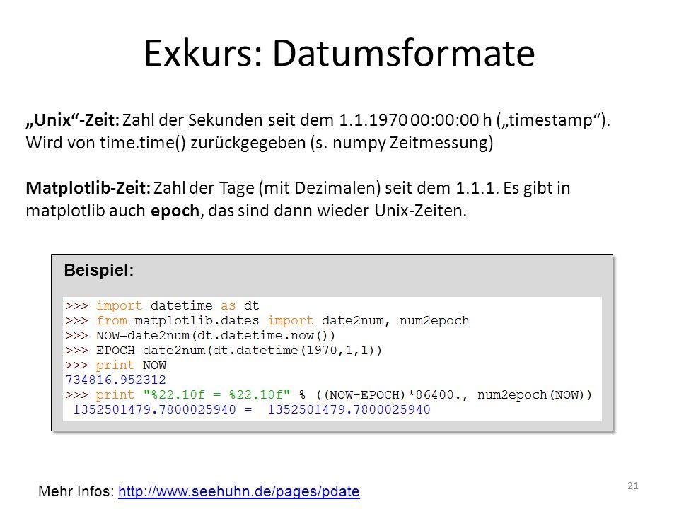 Exkurs: Datumsformate 21 Unix-Zeit: Zahl der Sekunden seit dem 1.1.1970 00:00:00 h (timestamp). Wird von time.time() zurückgegeben (s. numpy Zeitmessu