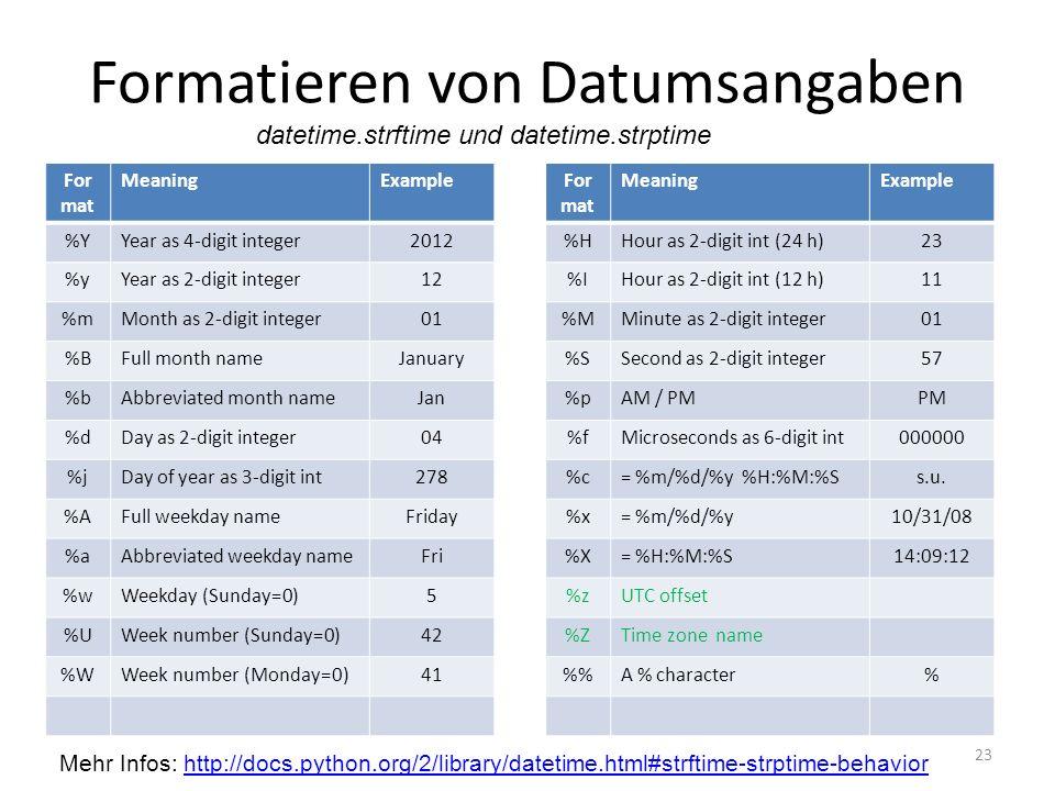 Formatieren von Datumsangaben 23 For mat MeaningExample %YYear as 4-digit integer2012 %yYear as 2-digit integer12 %mMonth as 2-digit integer01 %BFull