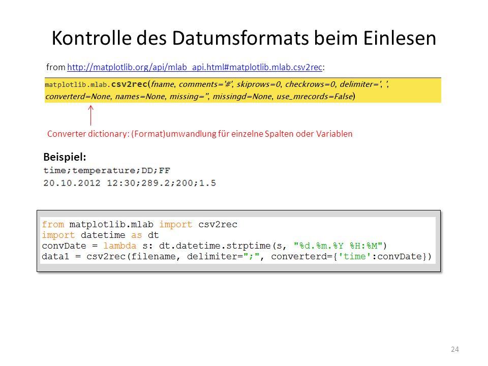 Kontrolle des Datumsformats beim Einlesen 24 from http://matplotlib.org/api/mlab_api.html#matplotlib.mlab.csv2rec:http://matplotlib.org/api/mlab_api.h