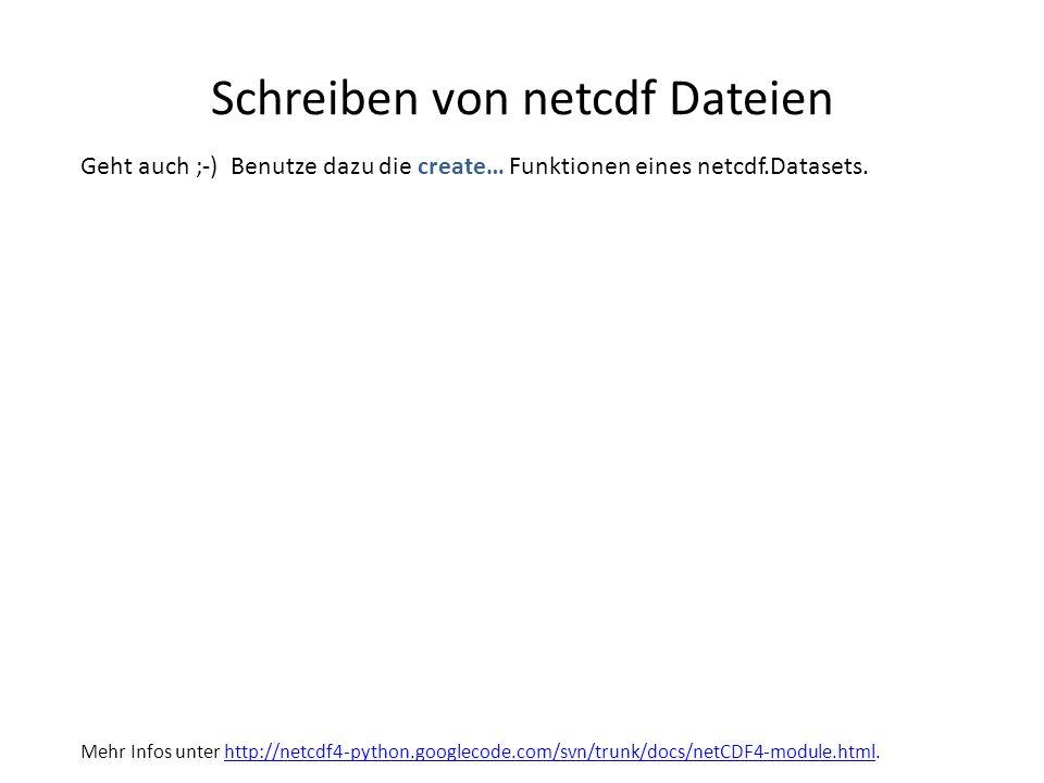 Schreiben von netcdf Dateien Geht auch ;-) Benutze dazu die create… Funktionen eines netcdf.Datasets. Mehr Infos unter http://netcdf4-python.googlecod