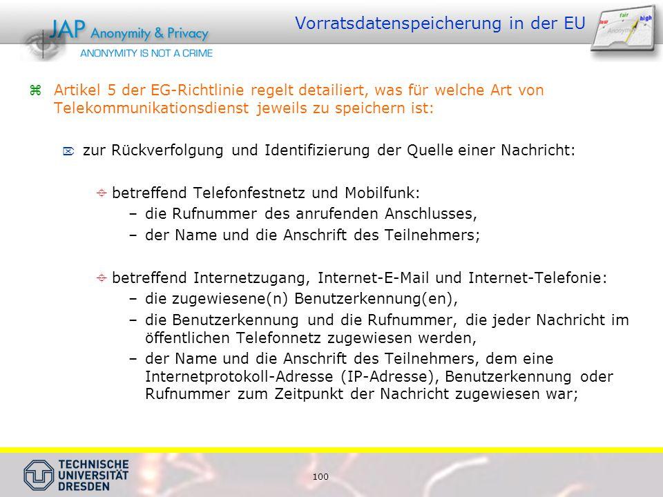 100 Vorratsdatenspeicherung in der EU Artikel 5 der EG-Richtlinie regelt detailiert, was für welche Art von Telekommunikationsdienst jeweils zu speichern ist: zur Rückverfolgung und Identifizierung der Quelle einer Nachricht: betreffend Telefonfestnetz und Mobilfunk: –die Rufnummer des anrufenden Anschlusses, –der Name und die Anschrift des Teilnehmers; betreffend Internetzugang, Internet-E-Mail und Internet-Telefonie: –die zugewiesene(n) Benutzerkennung(en), –die Benutzerkennung und die Rufnummer, die jeder Nachricht im öffentlichen Telefonnetz zugewiesen werden, –der Name und die Anschrift des Teilnehmers, dem eine Internetprotokoll-Adresse (IP-Adresse), Benutzerkennung oder Rufnummer zum Zeitpunkt der Nachricht zugewiesen war;