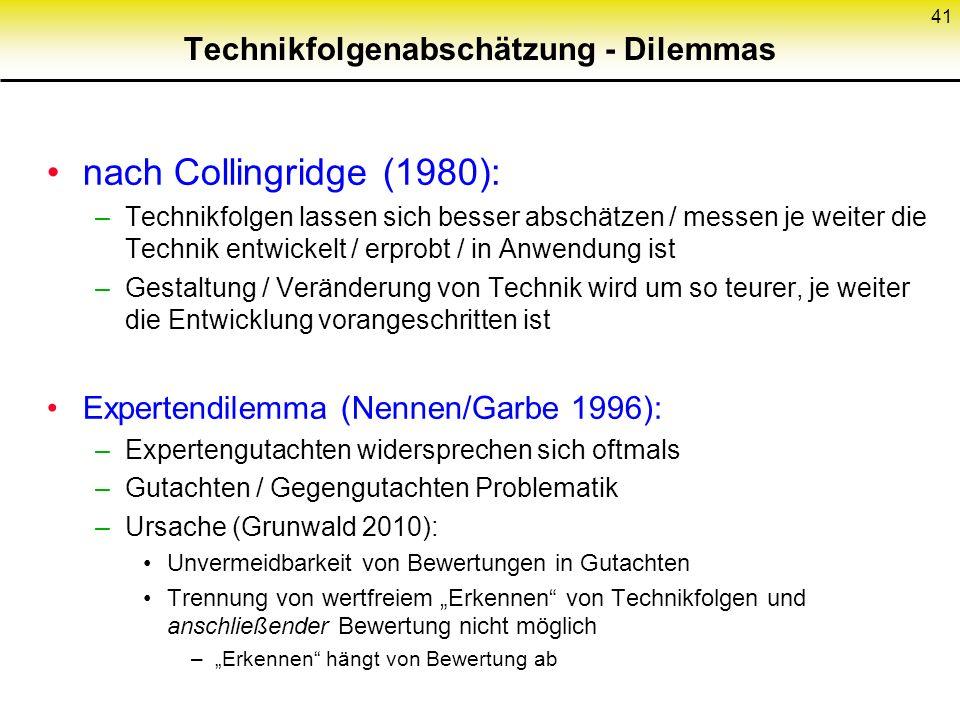 Technikfolgenabschätzung - Dilemmas nach Collingridge (1980): –Technikfolgen lassen sich besser abschätzen / messen je weiter die Technik entwickelt / erprobt / in Anwendung ist –Gestaltung / Veränderung von Technik wird um so teurer, je weiter die Entwicklung vorangeschritten ist Expertendilemma (Nennen/Garbe 1996): –Expertengutachten widersprechen sich oftmals –Gutachten / Gegengutachten Problematik –Ursache (Grunwald 2010): Unvermeidbarkeit von Bewertungen in Gutachten Trennung von wertfreiem Erkennen von Technikfolgen und anschließender Bewertung nicht möglich –Erkennen hängt von Bewertung ab 41