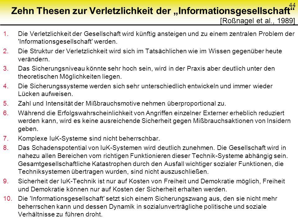 Zehn Thesen zur Verletzlichkeit der Informationsgesellschaft [Roßnagel et al., 1989] 1.Die Verletzlichkeit der Gesellschaft wird künftig ansteigen und zu einem zentralen Problem der Informationsgesellschaft werden.