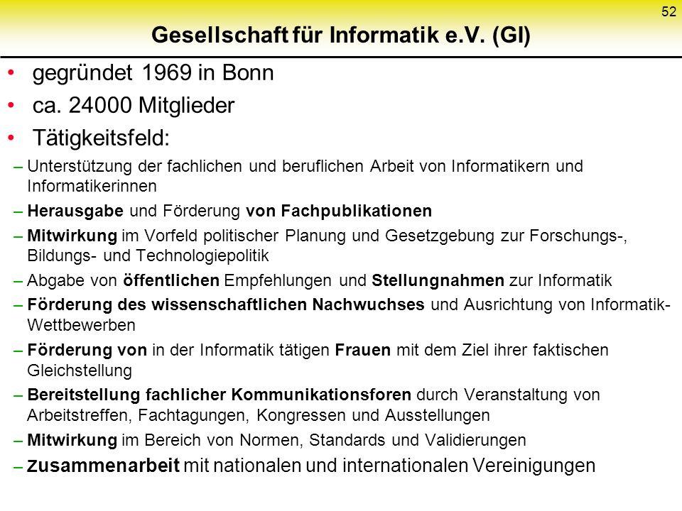 Gesellschaft für Informatik e.V.(GI) gegründet 1969 in Bonn ca.