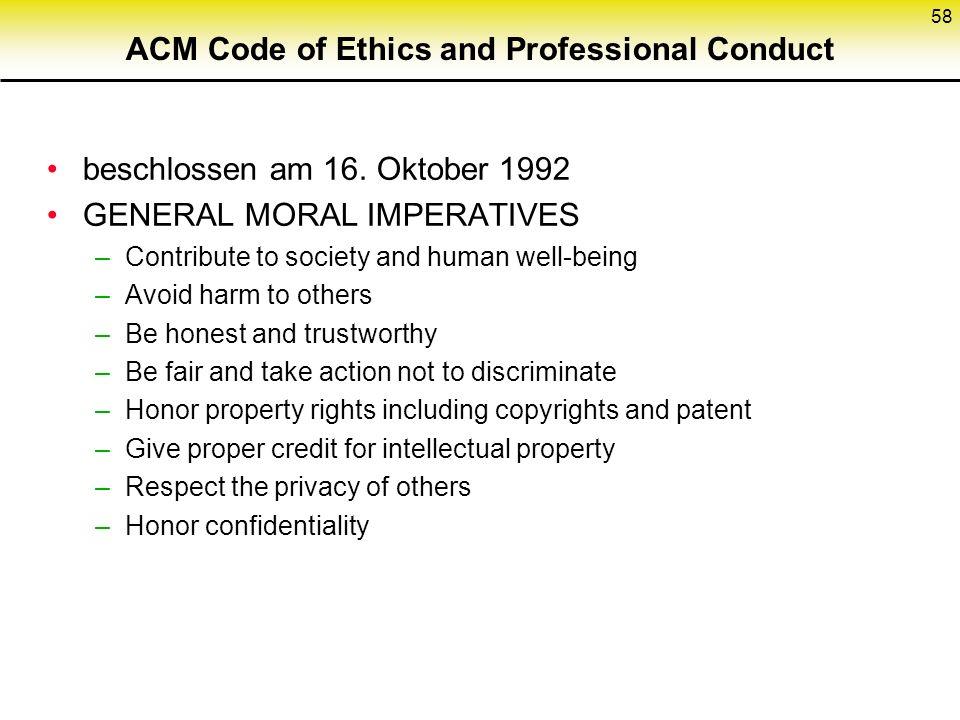ACM Code of Ethics and Professional Conduct beschlossen am 16.
