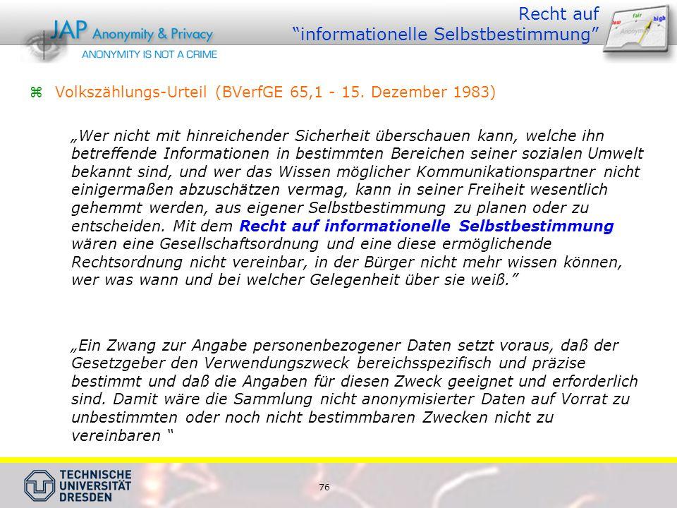 76 Recht auf informationelle Selbstbestimmung Volkszählungs-Urteil (BVerfGE 65,1 - 15.