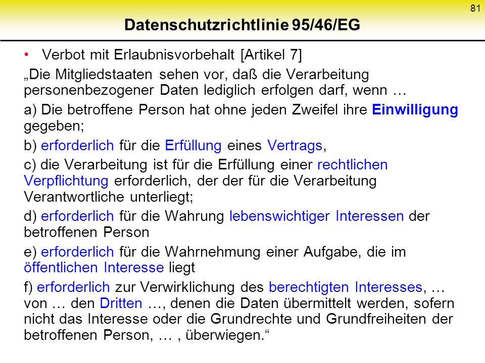 Datenschutzrichtlinie 95/46/EG Verbot mit Erlaubnisvorbehalt [Artikel 7] Die Mitgliedstaaten sehen vor, daß die Verarbeitung personenbezogener Daten lediglich erfolgen darf, wenn … a) Die betroffene Person hat ohne jeden Zweifel ihre Einwilligung gegeben; b) erforderlich für die Erfüllung eines Vertrags, c) die Verarbeitung ist für die Erfüllung einer rechtlichen Verpflichtung erforderlich, der der für die Verarbeitung Verantwortliche unterliegt; d) erforderlich für die Wahrung lebenswichtiger Interessen der betroffenen Person e) erforderlich für die Wahrnehmung einer Aufgabe, die im öffentlichen Interesse liegt f) erforderlich zur Verwirklichung des berechtigten Interesses, … von … den Dritten …, denen die Daten übermittelt werden, sofern nicht das Interesse oder die Grundrechte und Grundfreiheiten der betroffenen Person, …, überwiegen.