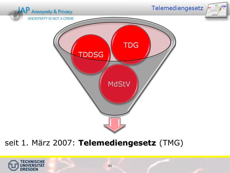 92 Telemediengesetz Telemediengesetz seit 1. März 2007: Telemediengesetz (TMG)